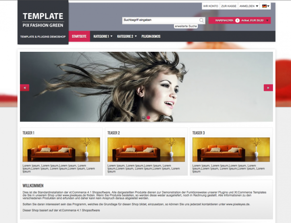 Xt:Commerce 4.1 Template Magenta Fashion